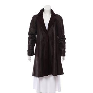 Chanel 07A shearling brown coat one button 38